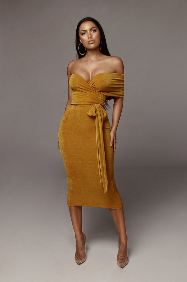 Mustard Elizabeth Multi-Way Wrap Dress