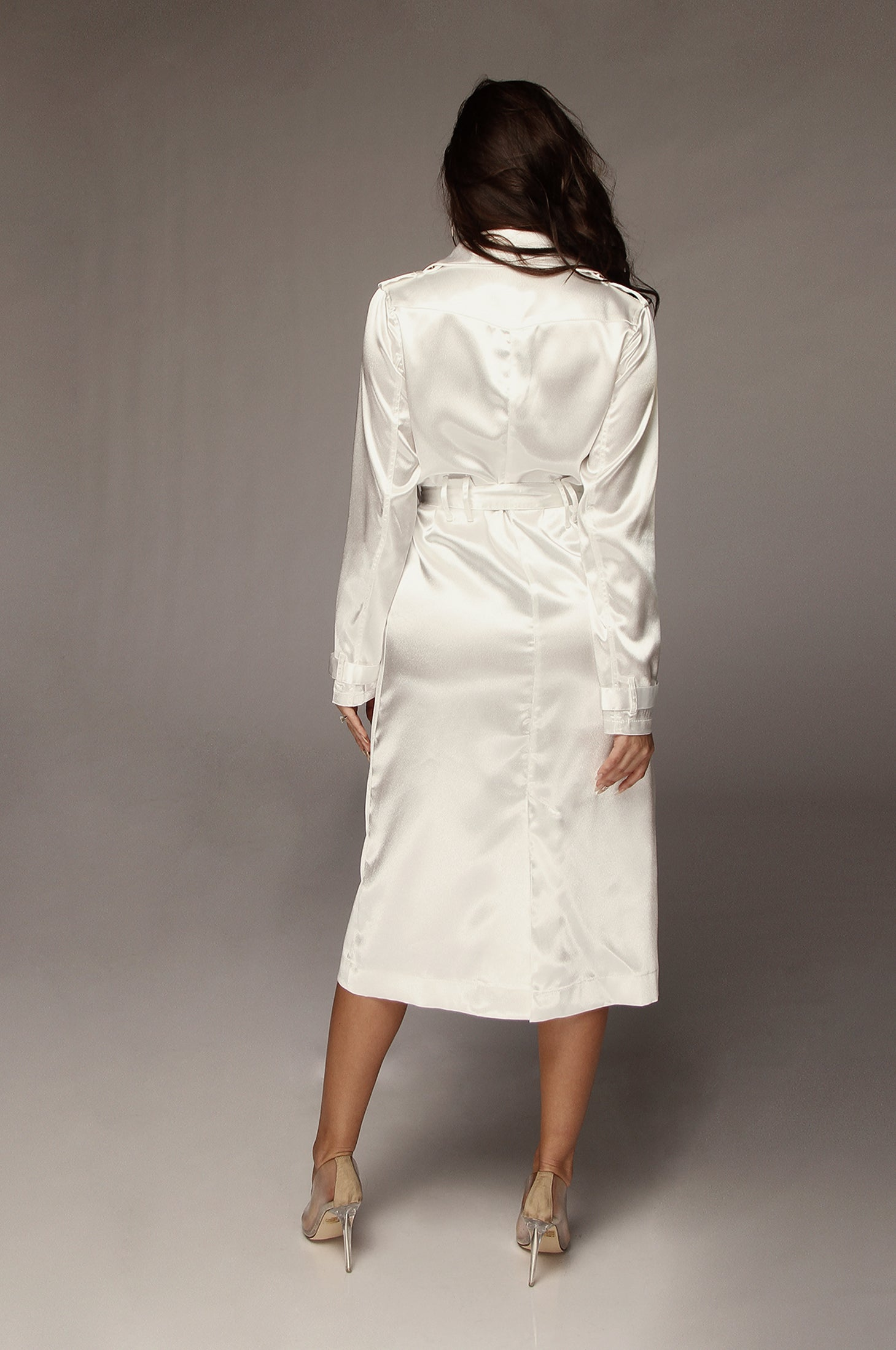 White Notorious Satin Coat
