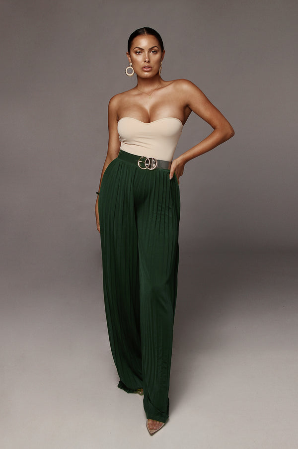 Green Half Dollar Pleated Wide Leg Pant