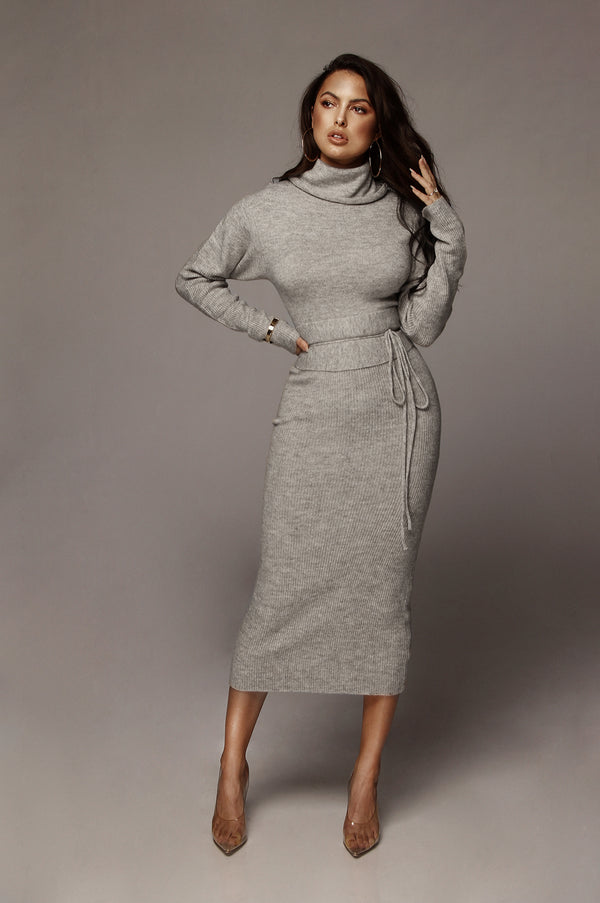 Grey Aubrey Turtleneck Sweater Dress