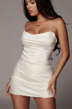 White Yulissa Cowl Neck Dress