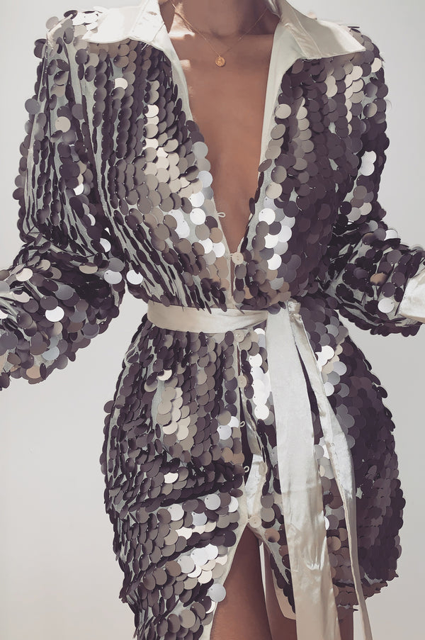 Silver Shay Oversized Sequin Dress