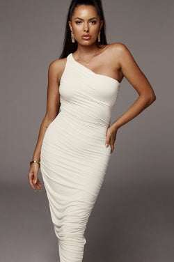 Ivory Lola One Shoulder Ruched Dress