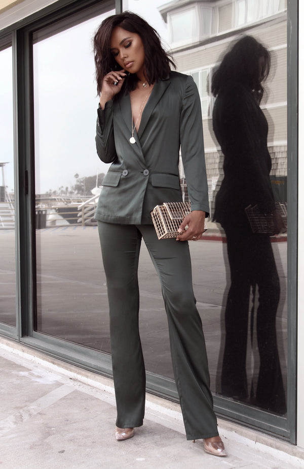 Green Harmony Satin Blazer Set