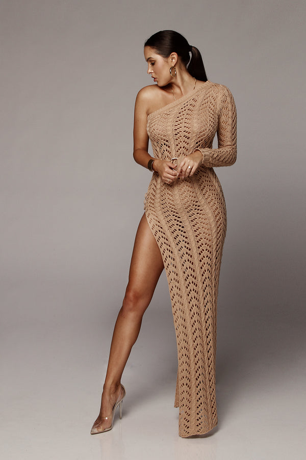 Taupe Lani Knit One Shoulder Dress