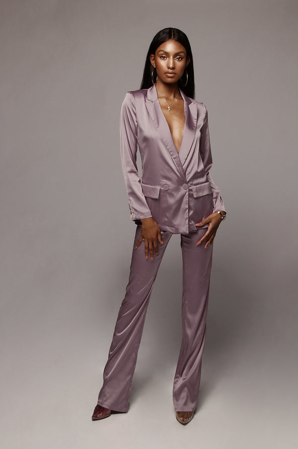 Lilac Symmetry Satin Trousers