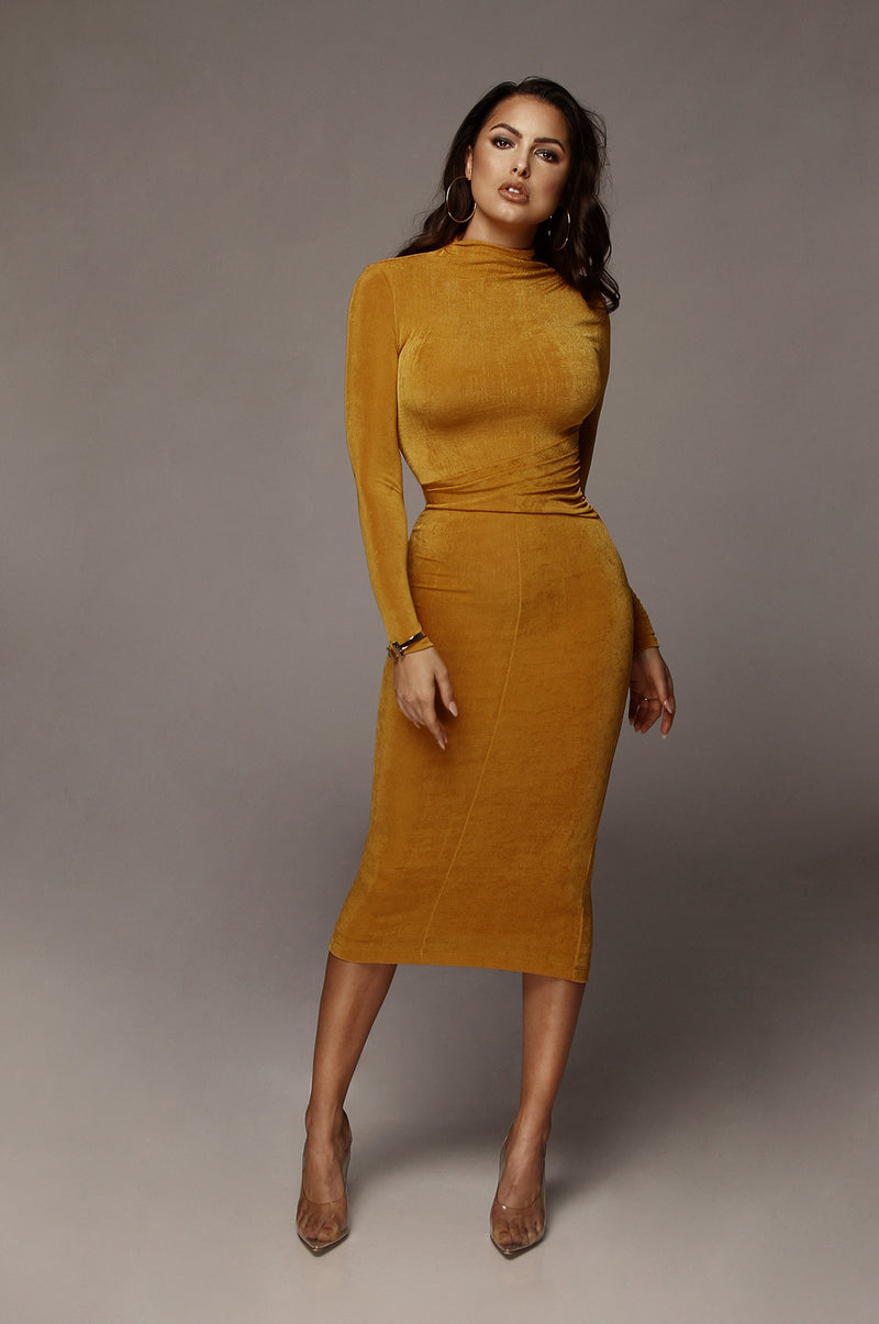 Mustard Grace Ruched Overlay Dress