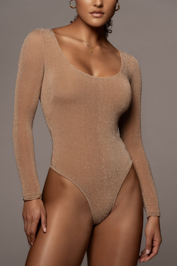 TAN ANTONIA SCOOP NECK BODYSUIT