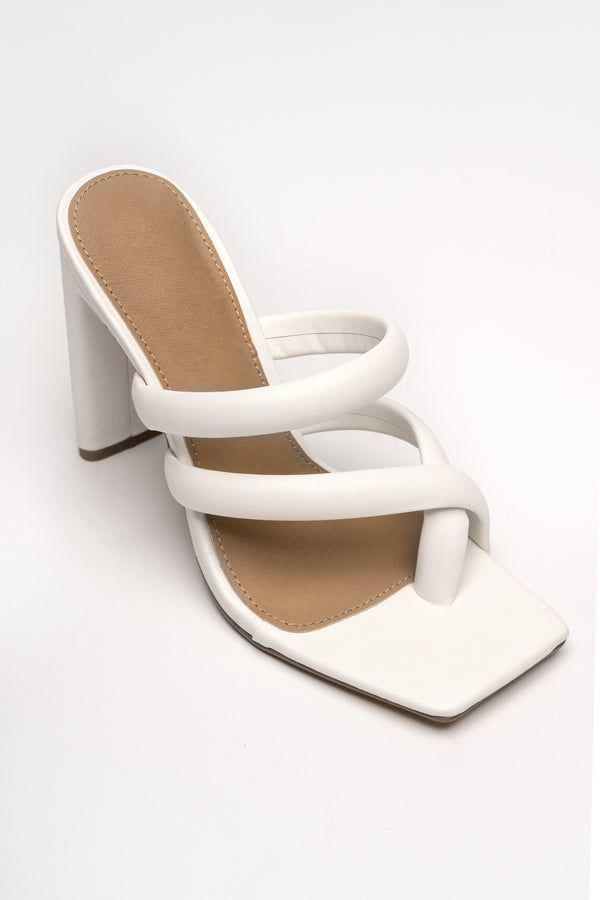 WHITE LURAINE HEELED SANDALS