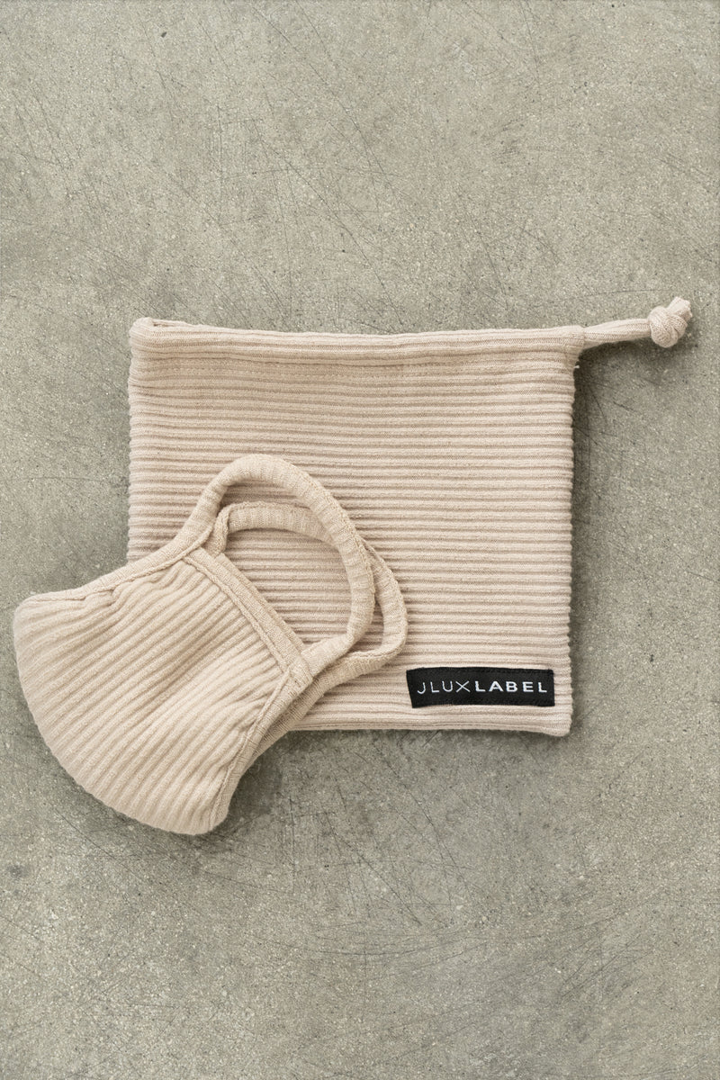 TAUPE EXCLUSIVE RIBBED MASK