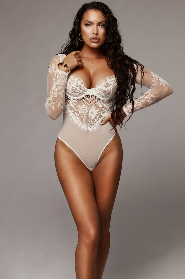 White Nadina Lace Bodysuit