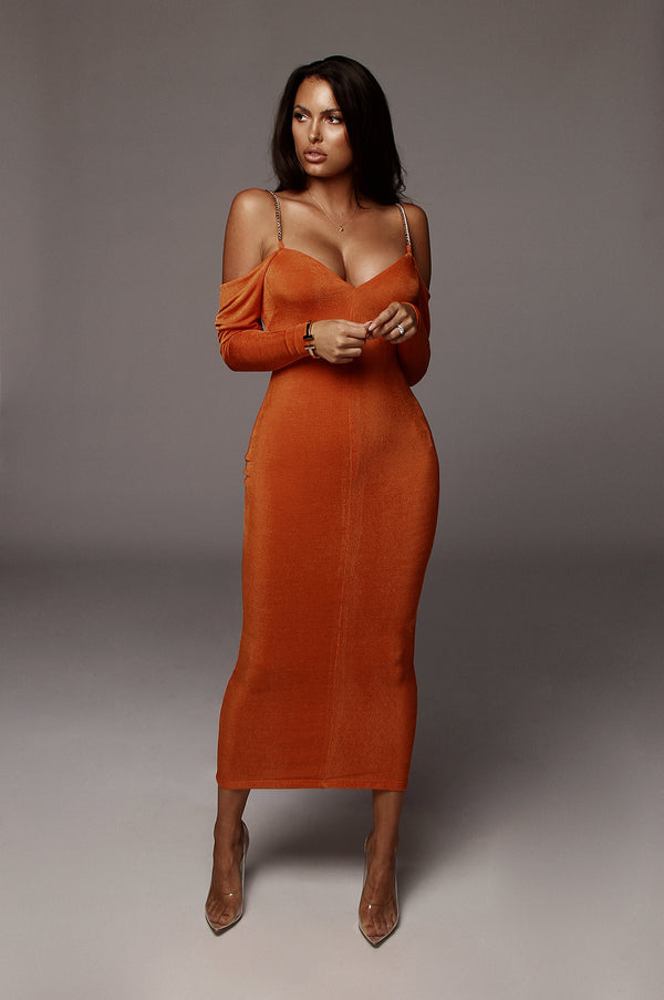 Orange Averie Off The Shoulder Dress