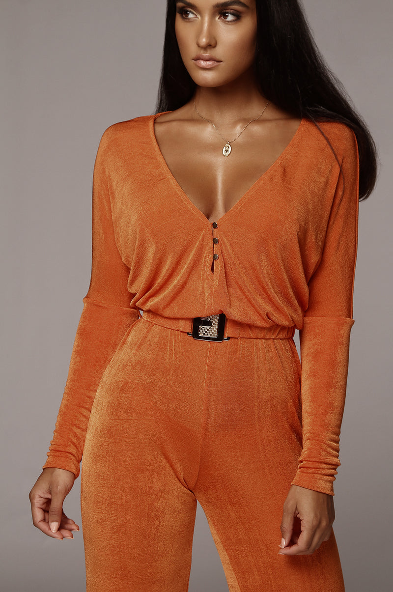 Orange Youmi Belted Jumpsuit