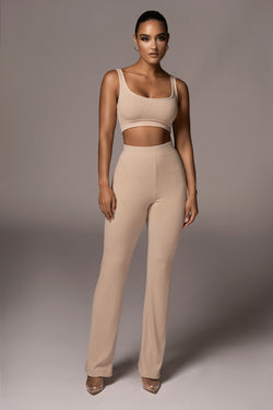 TAUPE BRET RIBBED PANTS