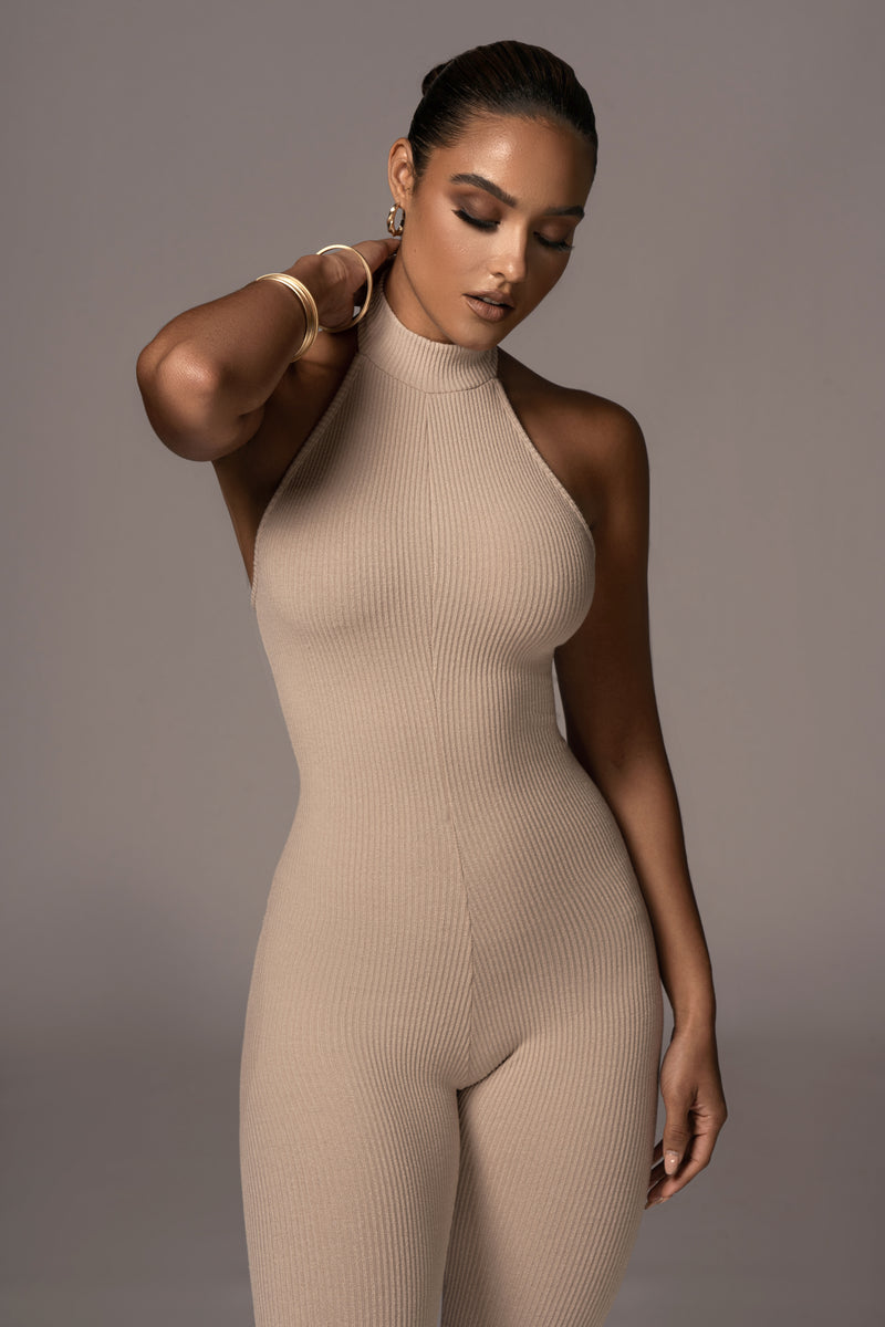 TAUPE CYNZIA HALTER JUMPSUIT