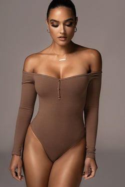 CHOCOLATE EULALIE OFF THE SHOULDER BODYSUIT
