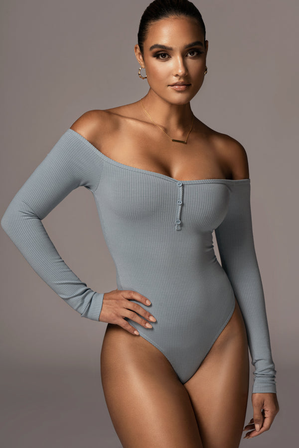 SKY BLUE EULALIE OFF THE SHOULDER BODYSUIT