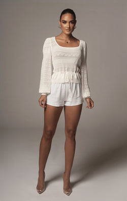 IVORY ELVA KNIT LONG SLEEVE TOP