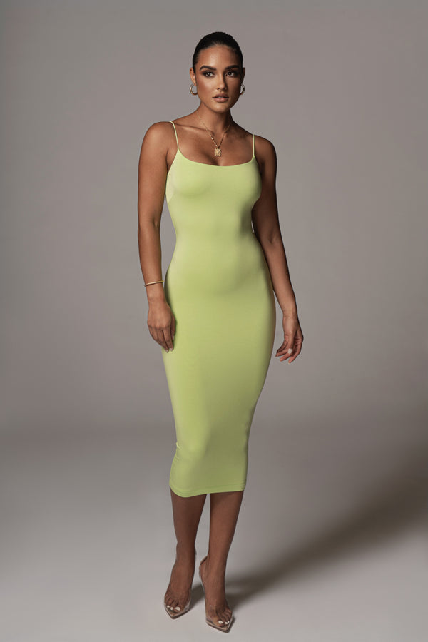 LIME QUEENS CORD STRAP DOUBLE LINED DRESS