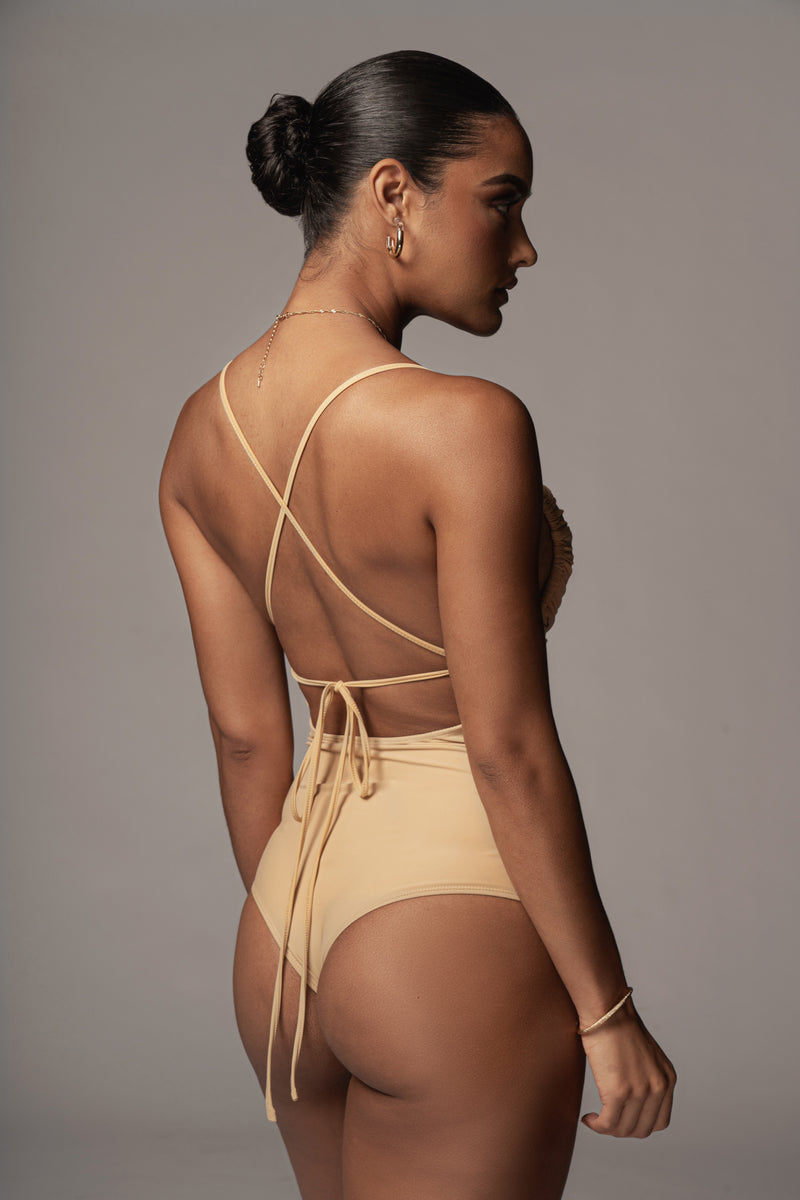 TAN CLAUDETTE RUCHED BODYSUIT
