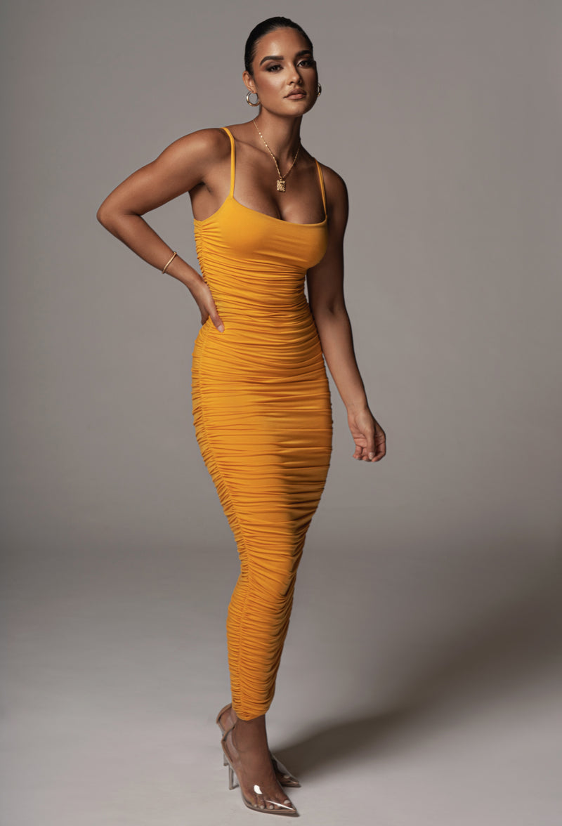 JLUXBASIX MUSTARD NATALIA RUCHED DRESS
