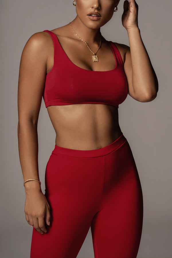 JLUXBASIX RED ELISE CROP TOP