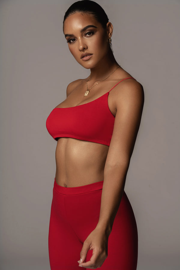 JLUXBASIX RED COURTNEY ONE SHOULDER CROP TOP