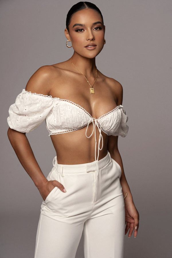 White Amerie Puff Sleeve Crop Top