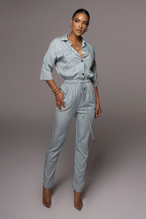 Best Of Me Chambray Utility Jumpsuit
