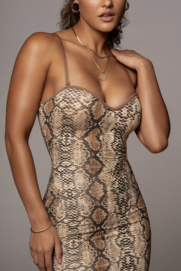 SNAKESKIN SEVERINE BUSTIER DRESS
