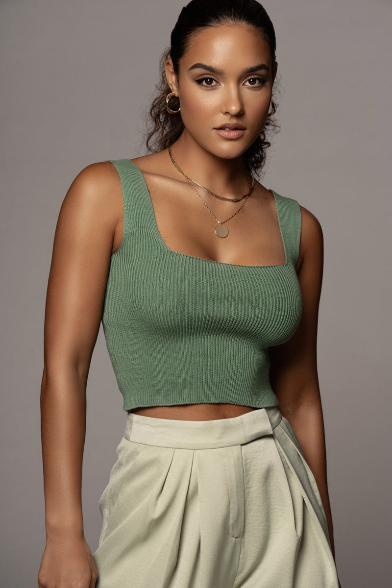 GREEN ISLA SQUARE NECK TOP