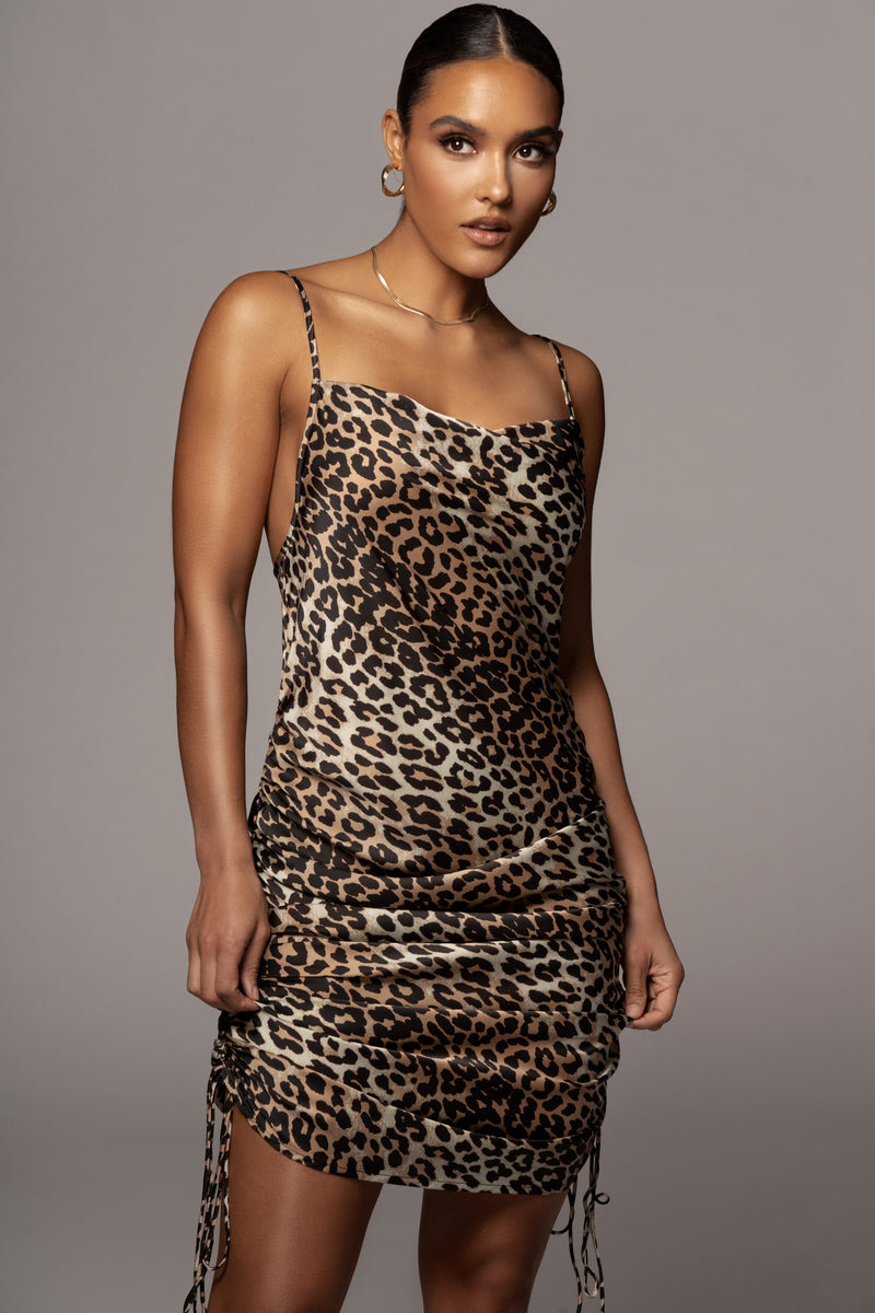 BROWN KRISTA SLIP DRESS