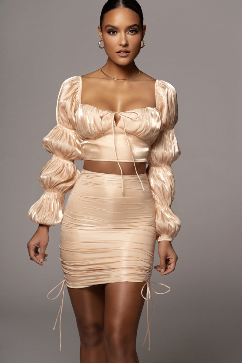CHAMPAGNE SNOH RUCHED SET