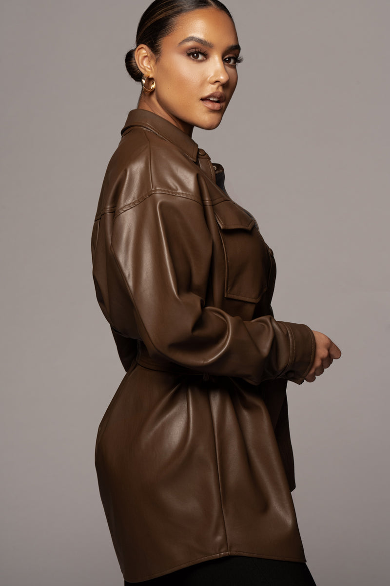 CHOCOLATE ALOUETTE FAUX LEATHER BUTTON UP