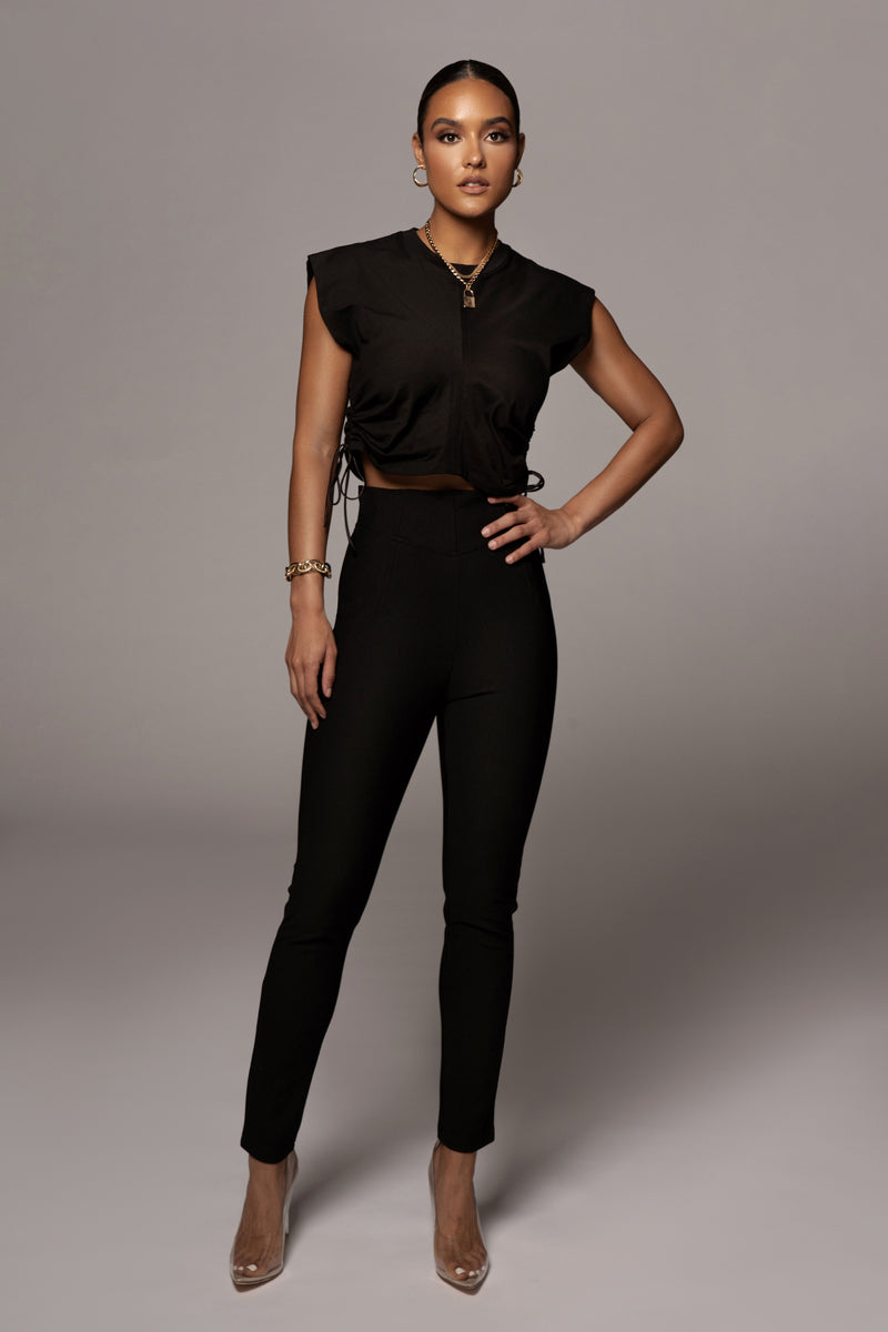 BLACK ALLYN RUCHED DETAIL SHIRT