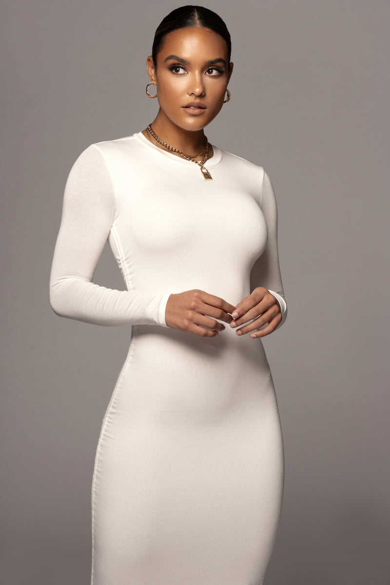 IVORY ATLAS RUCHED DETAIL DRESS