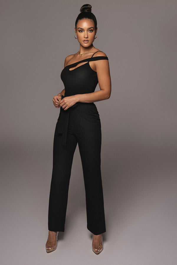 BLACK SELF STRAP ANKLE TIE TROUSERS
