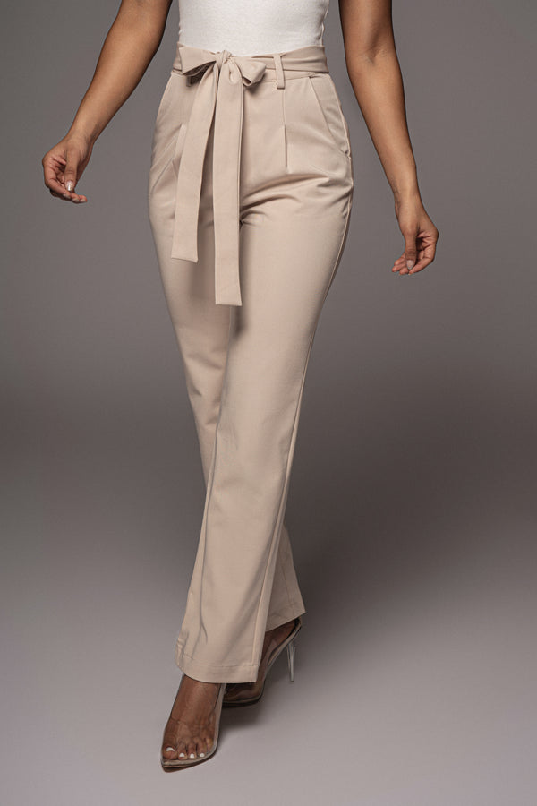 STONE SELF STRAP ANKLE TIE TROUSERS