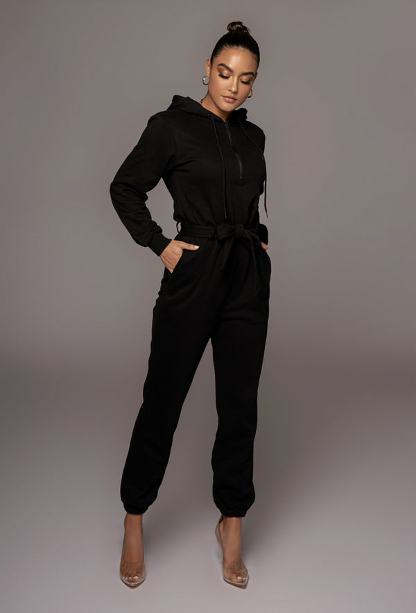 BLACK JOURNEE FLEECE JUMPSUIT