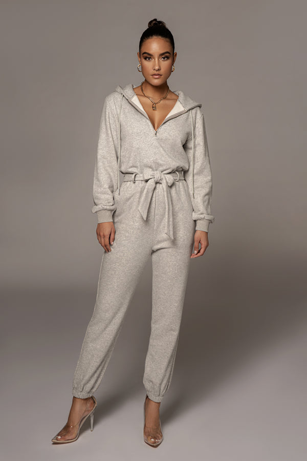 GREY JOURNEE FLEECE JUMPSUIT