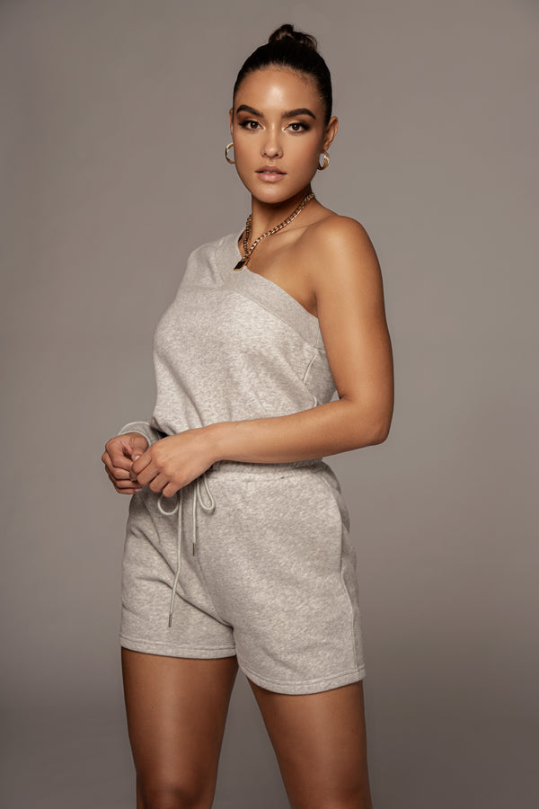 GREY AADI ONE SHOULDER FLEECE TOP