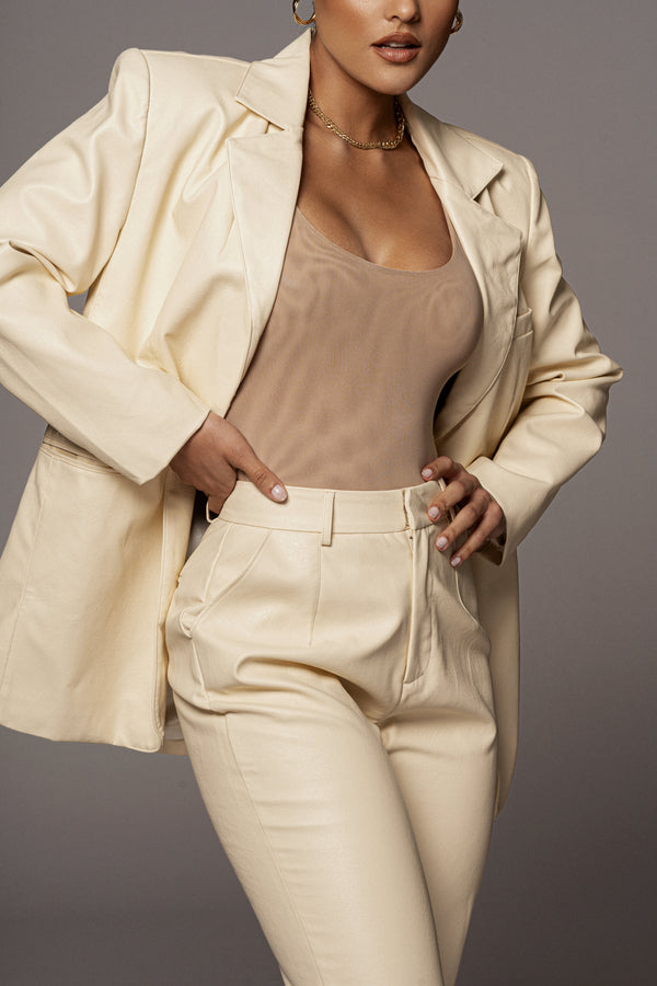 IVORY LEVINE FAUX LEATHER TROUSERS