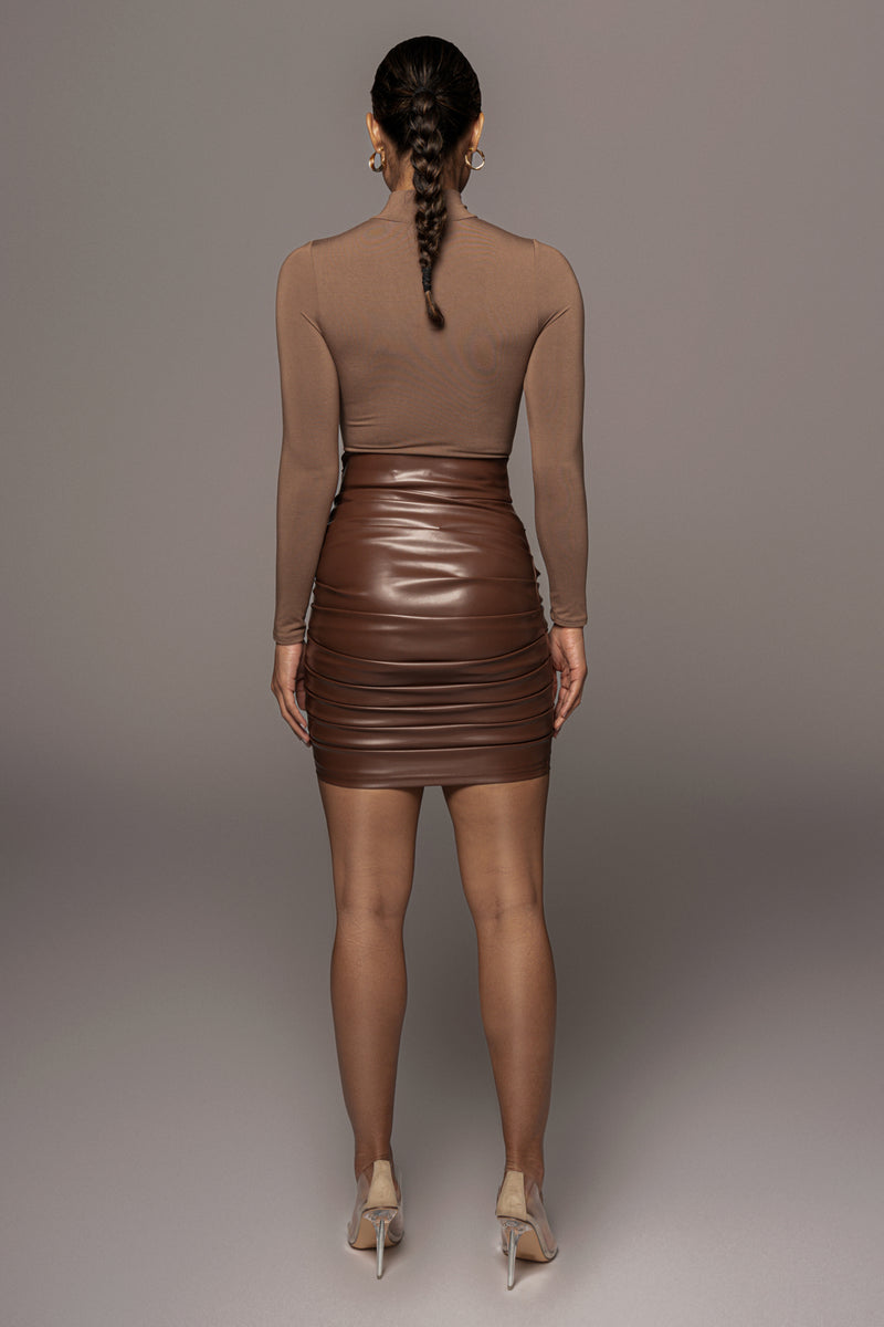 COCO CHRYSTAL FAUX LEATHER SKIRT