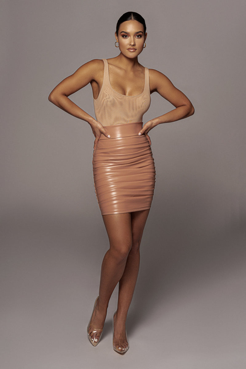 TAUPE CHRYSTAL FAUX LEATHER SKIRT