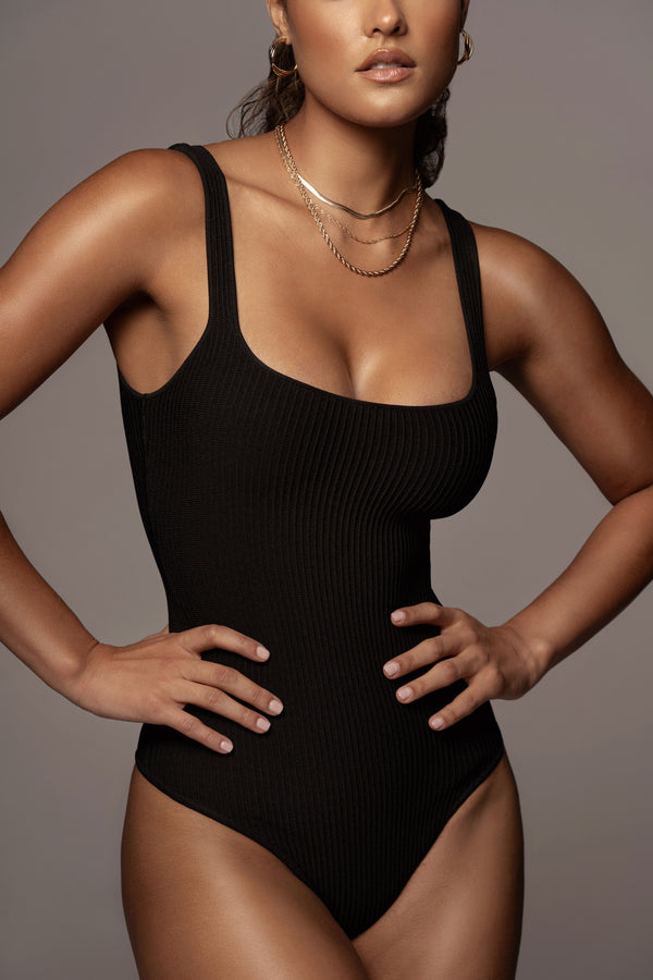 BLACK GRICELDA RIBBED BODYSUIT
