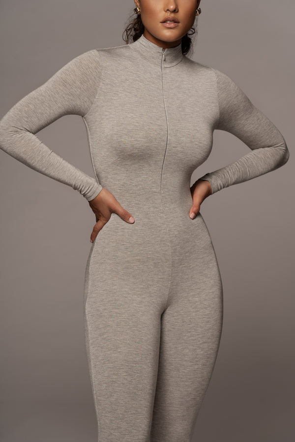 JLUXBASIX GREY VALENCIA ZIP UP JUMPSUIT