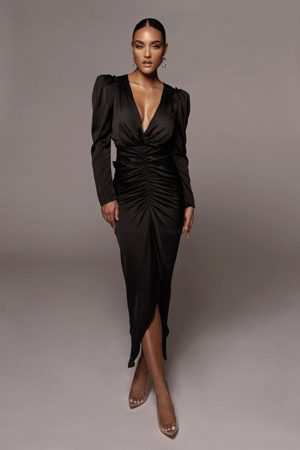 BLACK OLAY HOLIDAY RUCHED DRESS