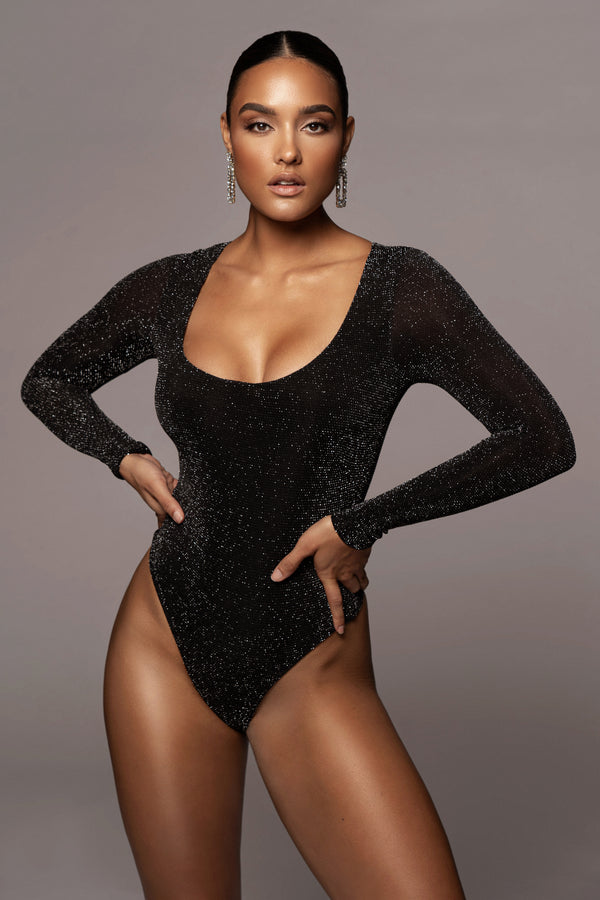 BLACK ANTONIA SCOOP NECK BODYSUIT