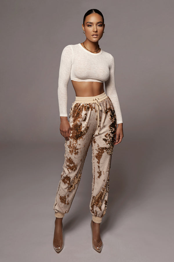 Ivory Essence Sequin Joggers