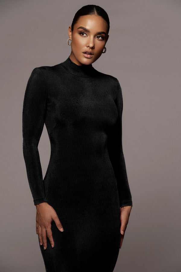 BLACK AUDETTE TURTLENECK DRESS